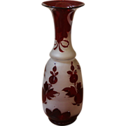 Antique Blown Glass Vase, Bohemian, Frosted Red Over lay.