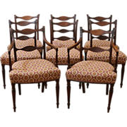 Antique English Mahogany Sheraton Dining Chairs, Set of 8.