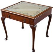 Antique Game Table, Needlepoint Top Craft Table.