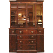 Vintage Breakfront China Cabinet, Mahogany, American, C1930