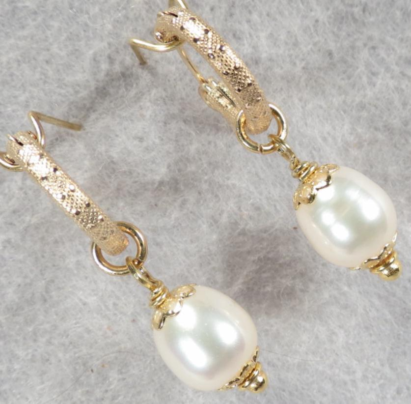 TUDOR PEARL Hoop Earrings Cultured Pearl 14K GF - Benefits Boomers Against Elder Abuse