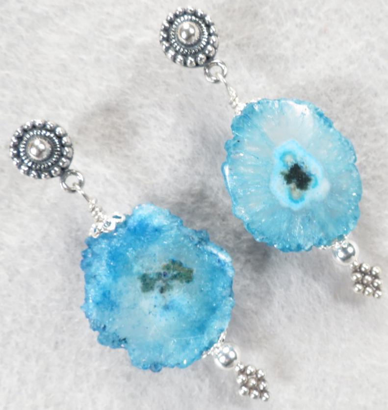 SEA PRIESTESS Blue Solar Quartz Post Earrings
