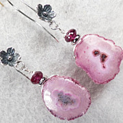 NAHEMA Earrings Pink Solar Quartz Rhodolite Garnet Silver