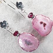 NAHEMA Earrings Pink Solar Quartz Rhodolite Garnet Silver