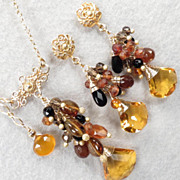 Caterina The Tigress Set Amber Tourmaline Hessonite Garnet Black Onyx Citrine Quartz Silver Renaissance Style