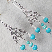 The Edge of the Gobi Earrings Mongolian Turquoise Silver Chandeliers