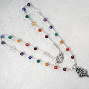 Chakra Kundalini Necklace Coiled Serpent Pendant Gems Silver