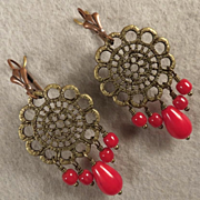 ALIENA Earrings Red Bamboo Coral Bronze Medieval Style