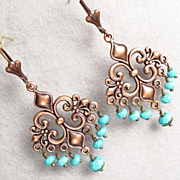 MELUSINE Earrings Copper Fleur-De-Lys Magnesite Turquoise Medieval Water Enchantress