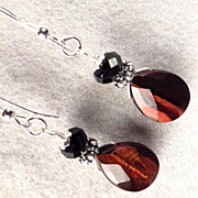 Caterina The Tigress Earrings Red Tiger Eye Jet Crystal Silver Renaissance Style
