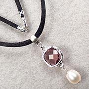 Anne Boleyn Wears Purple - Necklace Violet Glass Cultured Pearl Tudor Renaissance Style