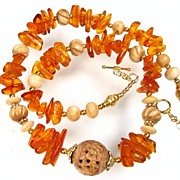 QUEEN MABH Necklace Vintage Baltic Amber Carved Bone 24K GV Magnificent