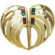 Vintage Deco Belt Buckle with Gem Colored Stones