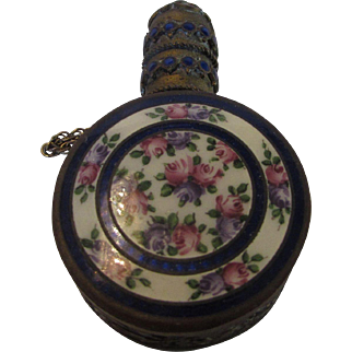 Vintage Brass Incense holder or Solid Perfume With Enameled Floral Centerpiece and Decorated Top