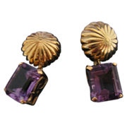 14 Karat Yellow Gold Clip On Earrings with Emerald Cut Amethysts