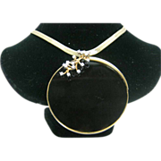 18K Yellow Gold Onyx Pin/Pendant. with .25 cts Diamond accents