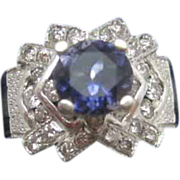 14K White Gold Ring with a 2 ct Deep Purple Blue Tanzanite with 1 ct Diamond Surround