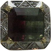 14 Karat Fabulous 14 cts Bi-Color Tourmaline Surrounded by 1 ct of Diamonds