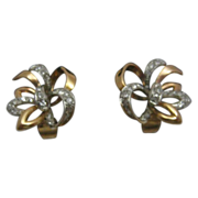 14K Rose Gold and .5 ct Diamond Bow Pierced Earrings with Euro  Clips