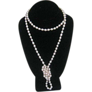 """46"""" Long Cultured Fresh Water Rose Tone Pearls with 14 Karat Yellow Gold Clasp"""