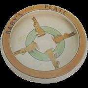 Roseville Pottery Juvenile Creamware Rabbit Plate