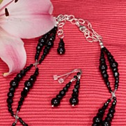 Jet Black Swarovski Necklace and Earrings Set in Sterling Silver