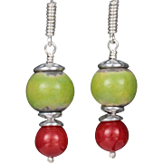 Celebration Earrings with Ceramic and Red Coral Bead (2)