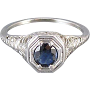 Vintage early Art Deco 18k white gold filigree .40 ct. sapphire solitaire ring