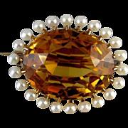 Stunning Edwardian 14k gold 15 carat citrine seed pearl brooch pin