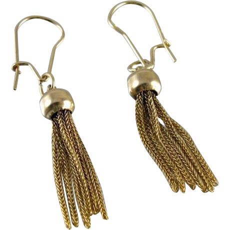 14k gold antique Edwardian herringbone tassel fringe drop Flapper earrings