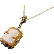 Signed Shiman Brothers & Co Esemco vintage early Art Deco 10k cameo lavalier pendant necklace
