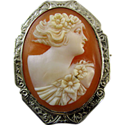 Vintage early Art Deco 14k white gold cameo brooch pin