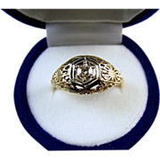 Antique Edwardian 14k diamond filigree engagement ring