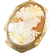 Antique Victorian LARGE rose gold cameo pendant signed F.P. Scofield