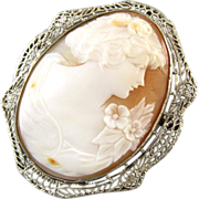 Vintage early Art Deco 14K white gold filgree cameo brooch pin pendant necklace