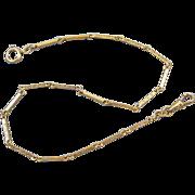 Vintage Art Deco gold filled bar link pocket watch chain signed Binder Brothers