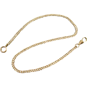 Vintage gold filled flat curb link pocket watch chain nonpareil