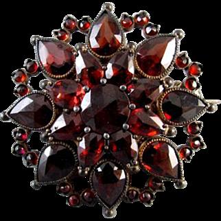 Antique Bohemian pear shaped garnets brooch pin