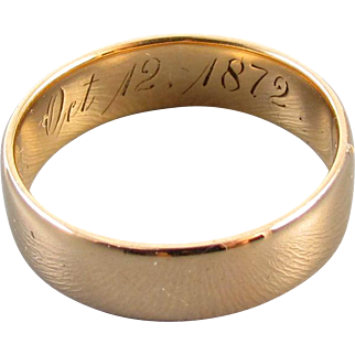1872 Reuben engraved antique mid Victorian 18k rose gold wedding band ring