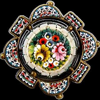Antique Victorian micro mosaic brooch pin
