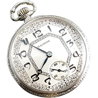 PROFESSIONALLY RESTORED and SERVICED Antique Art Deco 1922 Illinois Rockland pocket watch