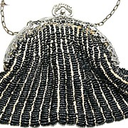 Antique Victorian Black Seed Bead and German Silver Ornate Frame Bag, Purse