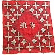 Early Cranberry Red and Clear Glass Bead  Star and Cross Tapestry