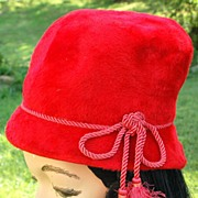 Vintage Cherry Red Cloche Felted Fur Hat With Tassels