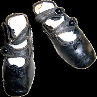 Double Strap 2 Tone Black Shoes