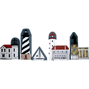Five Piece Cat's Meow Village Lighthouse Collection with Sailboat - 1987 - 1993
