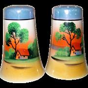 Salt and Pepper Shakers with Sunset Scene - Lusterware - Japan
