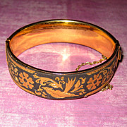Damascene Bangle Bracelet with Birds - 1970's Spain