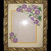 Hand Embroidered Cross Stitch Morning Glory Photo Frame - Purple
