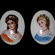 Pair of Porcelain Limoges Transfer Portrait Plaques with Victorian Ladies